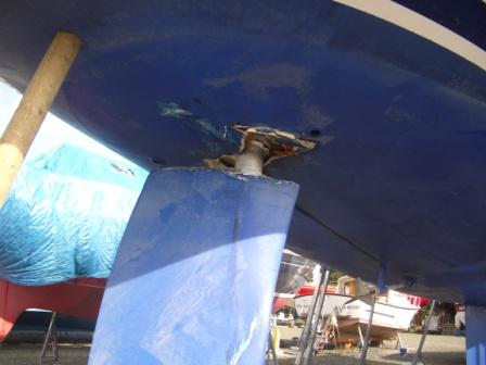 Broken rudder housing